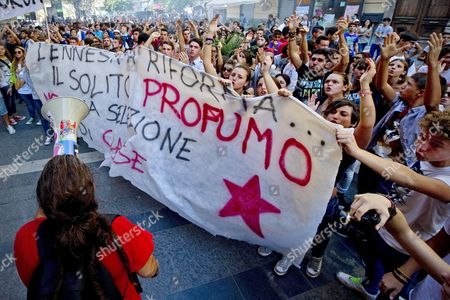 Students Protest Against Italian Education Minister Francesco Profumo During a Demonstration Against Government's Budgetary Cuts to Education and Other Austerity Policies in Naples Italy 05 October 2012 As Part of a Nationwide Protest Italy Naples