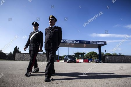 Stock Picture of The Pratica Di Mare Military Airport Near Rome where the Coffin of the German War Criminal Erich Priebke Has Been Taken on 16 October 2012 an Italian Government Official Saidon 16 October 2013 That the Country was in Talks with Germany Over the Fate of a Dead Nazi War Criminal Whose Funerals Were Called Off a Day Earlier Due to Street Protests the Body of Erich Priebke was Taken Overnight to a Military Airport Near Rome After Riots Prevented His Closed-door Funerals From Being Celebrated by an Ultra-traditionalist Catholic Group with Anti-semitic Views Italy Rome (italy)