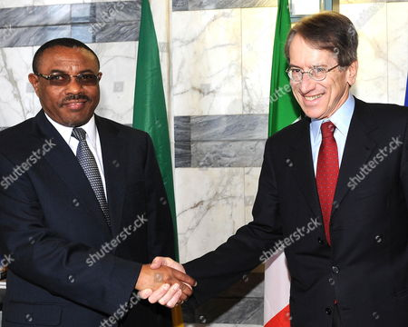 The Italian Foreign Ministry Giulio Terzi Di Sant 'Agata (r) Greets the Deputy Prime Minister and Foreign Minister of Ethiopia Hailemariam Desalegn (l) at the Foreign Ministry in Rome Italy 07 March 2012 Italy Rome
