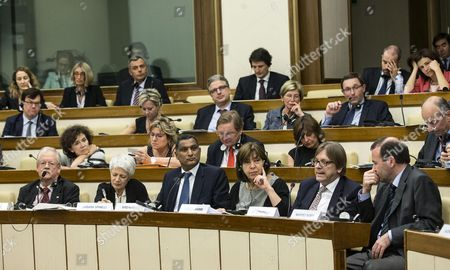 (l-r) the European Parliament Members Roger Helmer Barbara Spinelli Syed Kamall Rebecca Harms Guy Verhofstadt and Manfred Weber During a Meeting with Italian Mps in Rome Italy 23 June 2014 Next Month Italy Will Take the Reins of the Rotating Six-month Duty Presidency of the European Union Italy Rome