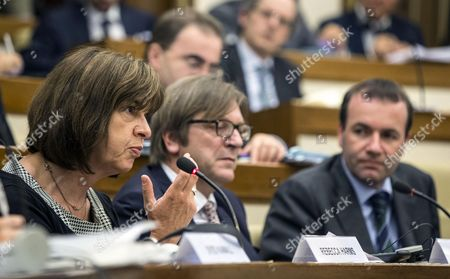 (l-r) the European Parliament Members Rebecca Harms Guy Verhofstadt and Manfred Weber Attend a Meeting with Italian Mps in Rome Italy 23 June 2014 Next Month Italy Will Take the Reins of the Rotating Six-month Duty Presidency of the European Union Italy Rome