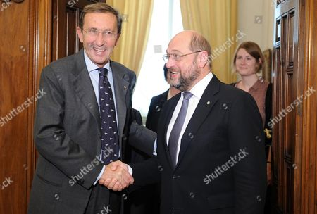 President of the Italian Chamber of Deputies Gianfranco Fini (l) with European Parliament President Martin Schulz (r) During Their Meeting at the Italian Chamber of Deputies in Rome Italy 08 November 2012 Italy Roma