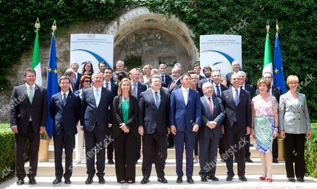 Italian Prime Minister Matteo Renzi (5-r) and Outgoing European Commission President Jose Manuel Durao Barroso (5-l) with Members of the Italian Cabinet of Ministers Pose For a Group Photo During Their Meeting at Villa Madama in Rome Italy 04 July 2014 That Marked the Beginning of the Six Months Italian Presidency of the Council of the European Union Italy Rome