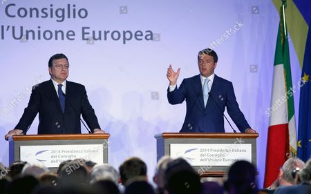 Italian Prime Minister Matteo Renzi (r) and Outgoing European Commission President Jose Manuel Durao Barroso (l) Hold a Joint News Conference Following Their Meeting at Villa Madama in Rome Italy 04 July 2014 That Marked the Beginning of the Six Months Italian Presidency of the Council of the European Union Italy Rome