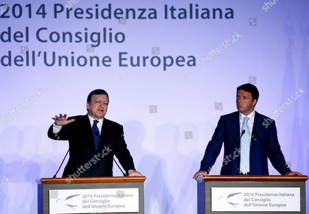 Italian Prime Minister Matteo Renzi (r) and Outgoing European Commission President Jose Manuel Durao Barroso (l) Hold a Joint News Conference Following Their Meeting at Villa Madama in Rome Italy 04 July 2014 That Marked the Beginning of the Six Months Italian Presidency of the Council of the European Union Epa/fabio Campana Italy Rome