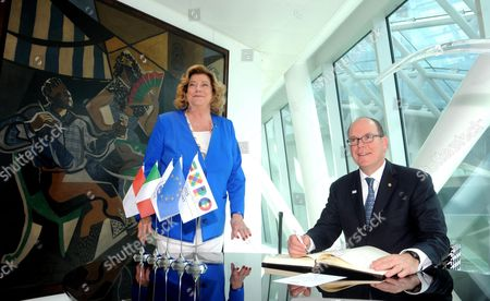 A Picture Made Available on 10 June 2015 Shows Prince Albert of Monaco and Diana Bracco Commissioner General of Section For the Italian Pavilion Posing For the Media After the Prince Signed the Charter of Milan During the Expo Milano 2015 in Milan Italy 09 June 2015 the Exhibition Runs From 01 May to 31 October This Will Be the Second Time Milan Hosts the Expo the First Milan International Exposition Took Place in 1906 the Event's 2015 Theme is 'Feeding the Planet Energy For Life' Italy Milan