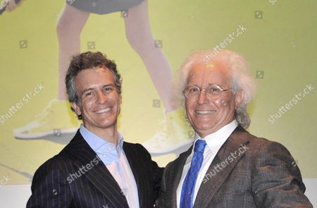 New Chairman of Benetton Group Alessandro Benetton (l) Poses with His Father Luciano (r) For Photographers in Ponzano Veneto (treviso) Italy 24 April 2012 Luciano Benetton Handed Over Control of the Fashion Empire to His Son on 24 April Italy Ponzano Veneto