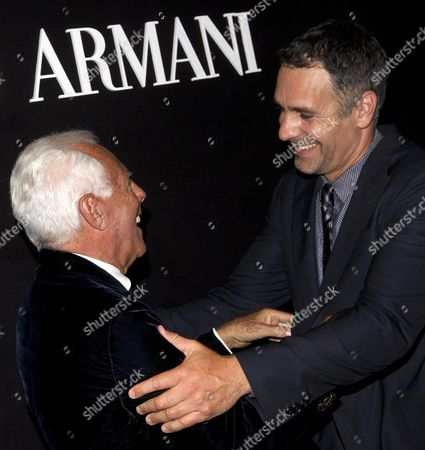 Italian Fashion Designer Giorgio Armani (l) Poses For a Photo with Italian Actor Raul Bova (r) During His 'One Night Only' Event in Rome Italy 05 June 2013 the Event Celebrating Giorgio Armani's New Store in the Italian Capital Features a Fashion Show and Presents an Exhibition Entitled 'Eccentrico' That Runs at the Palace of Civilization in Rome From 06 to 09 June Italy Rome