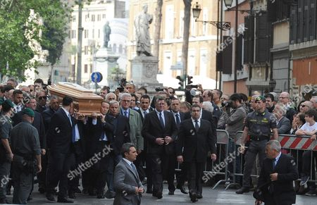 The Coffin Containing the Remains of Former Itallian Premier Giulio Andreotti is Carried by Friends During the Private Funeral in 'San Giovanni Dei Fiorentini' Church in Rome 07 May 2013 Andreotti who Served Seven Times As Italy's Prime Minister Died on 06 May 2013 at the Age of 94 Andreotti was a Central Figure of Italy's Postwar Era His Last Time in Office As Prime Minister was From 1989 to 1992 Italy Rome