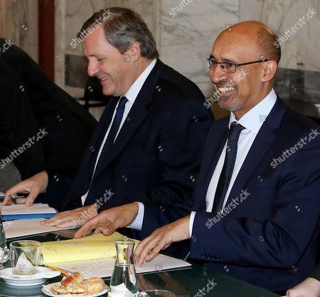 French Junior Minister of Foreign Affairs Harlem D?sir (r) and French Ambassador in Italy Alain Le Roy (l) During Their Meeting with Italian Foreign Minister Federica Mogherini (not in the Picture) at the Farnesina Palace in Rome Italy 23 April 2014 Italy Rome