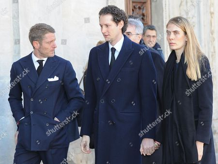 Fiat President John Elkann (c) His Wife Lavinia (r) and His Brother Lapo Elkann (l) Arrive at Turin Cathedral to Attend a Memorial Mass Marking the 10th Anniversary of the Death of Italian Industrialist and Principle Shareholder of Fiat Gianni Agnelli in Turin Italy 24 January 2013 Agnelli Died on 24 January 2003 Aged 81 Italy Turin