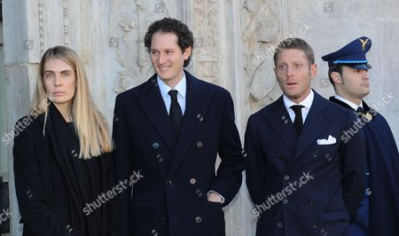 Fiat President John Elkann (2-l) His Wife Lavinia (l) and His Brother Lapo Elkann (3-l) Arrive at Turin Cathedral to Attend a Memorial Mass Marking the 10th Anniversary of the Death of Italian Industrialist and Principle Shareholder of Fiat Gianni Agnelli in Turin Italy 24 January 2013 Agnelli Died on 24 January 2003 Aged 81 Italy Turin