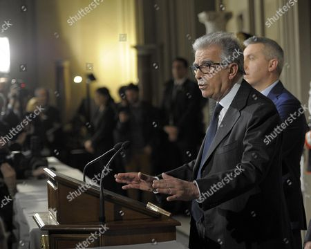 President of Partito Democratico's Senators Luigi Zanda After Meeting with Italian President Giorgio Napolitano at the Quirinale Palace in Rome Italy 15 February 2014 the Previous Day Letta Resigned As Italian Prime Minister and President Napolitano is Expected to Give a Government-formation Mandate to the Leader of Letta's Democratic Party (pd) Florence Mayor Matteo Renzi Italy Rome