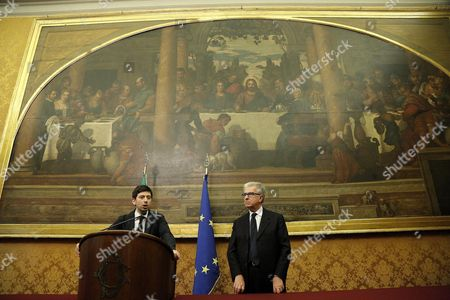 (l-r) Center-left Democratic Party (pd) Roberto Speranza and Luigi Zanda Address the Media at the End of Their Meeting with Italian Premier-designate Matteo Renzi in Parliament Offices in Rome Italy 19 February 2014 Italy Rome