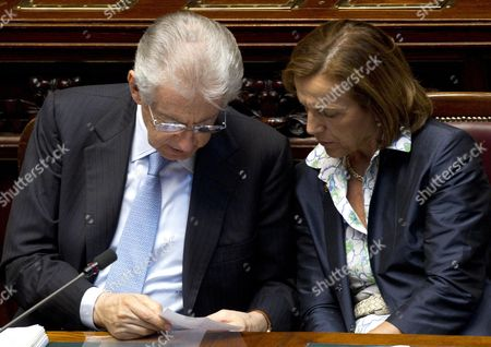 Italian Prime Minister Mario Monti (l) and Italian Labour Minister Elsa Fornero (r) at the Parliament in Rome Italy 05 July 2012 Monti Urged Lawmakers to Approve the European Union's Fiscal Compact and the Permanent Bailout Fund Known As the European Stability Mechanism (esm) Before the End of July Italy Rome