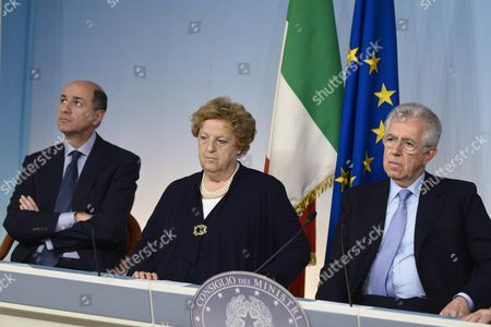 Italian Prime Minister Mario Monti (r) with Minister of Economic Development Corrado Passera (l) and Interior Minister Anna Maria Cancellieri (c) Listen to a Journalist's Question During a News Conference After a Meeting of the Council of Ministers at the Chigi Palace in Rome Italy 08 June 2012 the Council was Discussing a Variety of Topics Including the Handling of the Situation Following the Recent Earthquakes in the Northern Italian Emilia Romagna Region As Well As Economic and Italian Media Issues Italy Rome