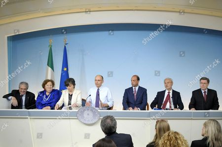 (l-r) Italian Economy Minister Fabrizio Saccomanni Justice Minister Anna Maria Cancellieri Education Minister Maria Chiara Carrozza Prime Minister Enrico Letta Interior Minister Angelino Alfano Territorial Cohesion Minister Carlo Trigilia and Minister of Labor and Social Policies Enrico Giovannini During a Press Conference After a Ministers' Meeting in Rome Italy 26 June 2013 Italy Rome
