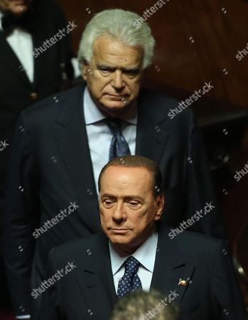 Former Italian Prime Minister Silvio Berlusconi (b) of the People of Freedom (pdl) Party Stands Below Below Deputy Denis Verdini (t) During the Speech of Italian Prime Minister Enrico Letta at the Senate Rome Italy 02 October 2013 Letta Addresses the Senate Ahead of a Confidence Vote on His Grand Coalition Government where It is About 20 Seats Short of a Majority As a Result of Former Prime Minister Berlusconi's Defection Letta a Member of the Centre-left Democratic Party is Due to Address the Lower House of Parliament the Chamber of Deputies where His Government Should Be Able to Muster a Majority Even Without the Support of the People of Freedom (pdl) Italy Rome