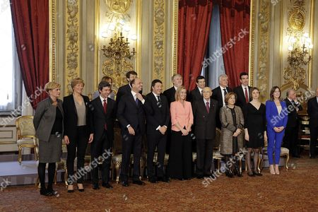 (l-r) the New Italian Cabinet Minister of Economic Development Federica Guidi Minister of Defense Roberta Pinotti Minister of Justice Andrea Orlando Minister of Health Beatrice Lorenzin Minister of Interior Angelino Alfano Minister of Cultural Property Dario Franceschini Prime Minister Matteo Renzi Minister of Education and Research Stefania Giannini Minister of Foreign Affairs Federica Mogherini Minister of Welfare Giualiano Poletti President Giorgio Napolitano Minister For Transport Maurizio Lupi Minister of Regional Affairs Maria Carmela Lanzetta Minister of Environment Gianluca Galletti Minister For Public Administration Marianna Madia Minister For Agriculture Maurizio Martina and Minister For Relations with Parliament Maria Elena Boschi Pose For a Picture After the Swearing in Ceremony of the New Government at Quirinale Palace Rome Italy 22 February 2014 Thirty-nine Year Old Prime Minister Matteo Renzi is the Youngest Leader in Italy's 163-year History As a United Country Epa/giuseppe Lami Italy Rome