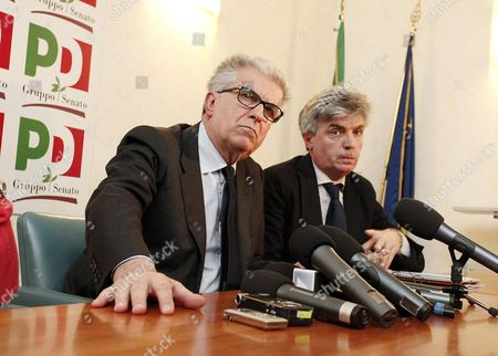 Luigi Zanda (l) and Davide Zoggia (r) of the Democratic Party (pd) Are Pictured During a Press Conference in the Senate After Their Meeting with Members of the Five Stars Movement (m5s) in Rome 12 March 2013 in the Recent General Election the Center-left Won the Most Votes But Failed to Secure a Majority Pd Secretary Pier Luigi Bersani (not Pictured) Indicated He Would Try to Lead a Minority Government with Outside Support From the Ms5 Which Won Around 25 Percent of Votes Italy Roma