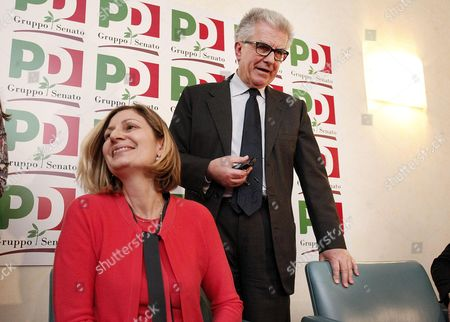 Rosaria Calipari (l) and Luigi Zanda (r) of the Democratic Party (pd) Are Pictured During a Press Conference in the Senate After Their Meeting with Members of the Five Stars Movement (m5s) in Rome 12 March 2013 in the Recent General Election the Center-left Won the Most Votes But Failed to Secure a Majority Pd Secretary Pier Luigi Bersani (not Pictured) Indicated He Would Try to Lead a Minority Government with Outside Support From the Ms5 Which Won Around 25 Percent of Votes Italy Roma