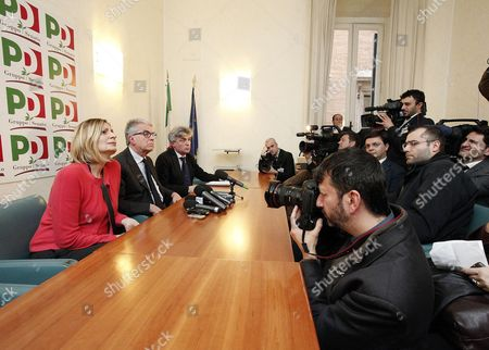 Rosaria Calipari (l) Luigi Zanda (c) E Davide Zoggia (r) of the Democratic Party (pd) Are Pictured During a Press Conference in the Senate After Their Meeting with Members of the Five Stars Movement (m5s) in Rome 12 March 2013 in the Recent General Election the Center-left Won the Most Votes But Failed to Secure a Majority Pd Secretary Pier Luigi Bersani (not Pictured) Indicated He Would Try to Lead a Minority Government with Outside Support From the Ms5 Which Won Around 25 Percent of Votes Italy Roma