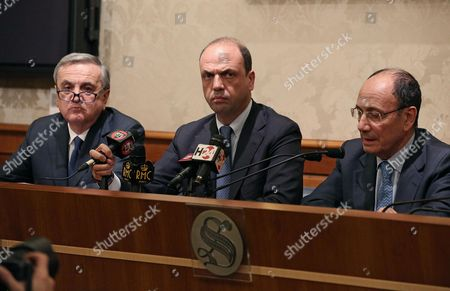 Leader of New Centre-right Party Angelino Alfano (c) with Maurizio Sacconi (l) and Renato Schifani (r) During the Press Conference After Italian Senate Expelled Former Premier Silvio Berlusconi From the Parliament in Rome Italy 27 November 2013 Italy's Senate Has Expelled Silvio Berlusconi on 27 November Over His Tax Fraud Conviction in a Momentous Move That Raises the Risk of His Arrest But is Unlikely to End His Tumultuous Career Italy Rome