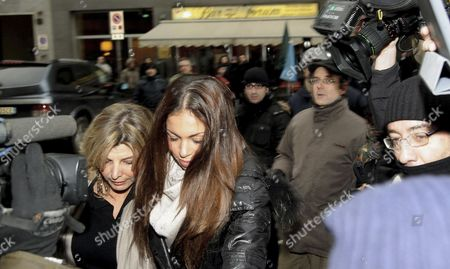 Moroccan-born Karima El-mahroug (c) Also Known As Ruby Rubacuori (ruby Heart Stealer) is Accompanied by an Unidentified Woman (c-l) As She Arrives For a Court Hearing in the Trial of Former Italian Prime Minister Silvio Berlusconi in Milan Italy 14 January 2013 Berlusconi 76 is Accused of Having Had Sex with El-mahroug when She was 17 During Late Night Parties at His Villa Outside Milan and Also of Pressuring Police to Release Her After She Had Been Held on Suspicion of Theft Italy Milan