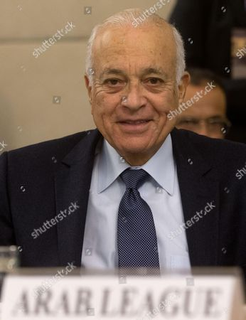 Stock Photo of Secretary General of the Arab League Nabil El Araby During the International Conference on Libya at Farnesina Palace Rome 6 March 2014 Italy Rome