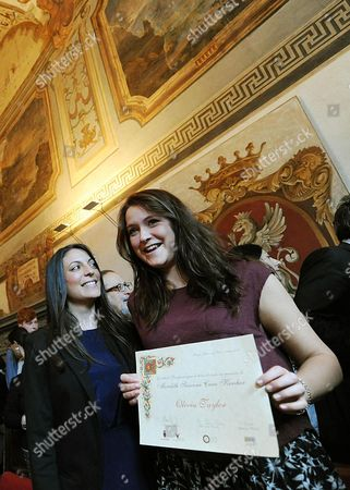 British University Exchange Student Meredith Kercher's Sister Stephanie Kercher (2-r) with English Student Olivia Taylor (r) who is the First Receipient Receiving a Scholarship to Remember Meredith Kercher in Perugia Italy 04 June 2013 Meredith Kercher was Murdered in Perugia Italy on 01 November 2007 a Scholarship Fund was Set Up in Kerchers Memory by the City of Perugia and Perugias University For Foreigners where She was Studying at the Time of Her Death Italy Perugia