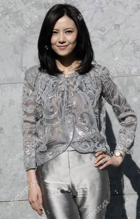 Chinese Actress Gao Yuanyuan Guest Poses For a Photograph As She Attends the Italian Designer Giorgio Armani Show at the Milan Fashion Week in Milan Italy 27 February 2012 the Fall/winter 2012 Collections Are Presented at the Milano Moda Donna From 22 to 28 February Italy Milan
