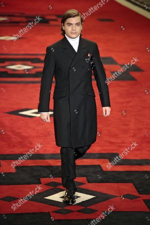 Stock Picture of American Actor Emile Hirsh Presents a Creation by Italian Fashion Label Prada For the Fall/winter 2012-13 Men's Collection During the Milan Fashion Week in Milan Italy 15 January 2012 the Fashion Week Runs From 14 to 17 January Italy Milan