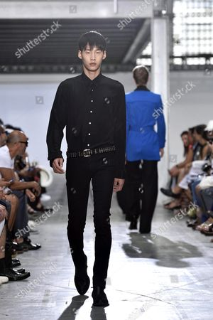 A Model Presents a Creation From the Spring/summer 2016 Menswear Collection of Italian Designer Ennio Capasa For His Label Costume National Homme During the Milan Men's Fashion Week in Milan Italy 20 June 2015 the Milano Moda Uomo Runs From 19 to 23 June Italy Milan
