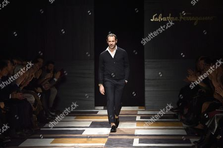 Italian Designer Massimiliano Giornetti Appears on the Catwalk at the End of Presentation of His Fall/winter 2015 Collection For Italian Fashion House Salvatore Ferragamo During the Milan Fashion Week in Milan Italy 01 March 2015 the Milano Moda Donna Will Run From 25 February to 02 March Italy Milan