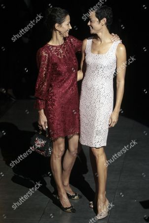 Former Model Marpessa Hennink (l) and French Model Nadege Du Bospertus (r) Attend the Dolce and Gabbana Show During the Milan Fashion Week in Milan Italy 23 September 2012 Spring/summer 2013 Collections Are Presented at the Milano Moda Donna From 19 to 25 September Italy Milan