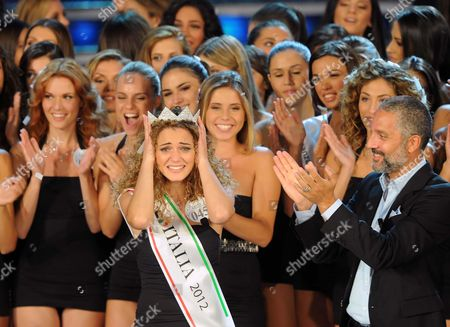 Giusy Buscemi (c) Wins the Miss Italia 2012 in Montecatini Terme Italy 10 September 2012 on the Right is Italian Actor Beppe Fiorello Italy Montecatini Terme