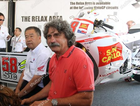 Honda Hrc Has Presented Two Bikes to Paolo Simoncelli His Son's Marco's Rc212v Race Machine and a Marco Inspired During the Grand Prix of Italy Tim at the Mugello Circuit Central Italy 14 July 2012 Italian Moto Gp Rider Marco Simoncelli who Died Last Year Italy Scarperia (fi)