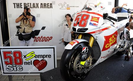 Honda Hrc Has Presented Two Bikes to Paolo Simoncelli (not Pictured) His Son's Marco's Rc212v Race Machine and a Marco Inspired During the Grand Prix of Italy Tim at the Mugello Circuit Central Italy 14 July 2012 Italian Moto Gp Rider Marco Simoncelli who Died Last Year Italy Scarperia (fi)