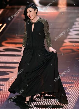 Italian Singer Giusy Ferreri Performs Onstage During the Last Day of the Sanremo Italian Song Festival at the Ariston Theatre in Sanremo Italy 22 February 2014 Italy Sanremo