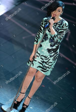 Italian Singer Giusy Ferreri Performs Onstage During the Third Night of Sanremo Italian Song Festival in Ariston Theatre Sanremo Italy 20 February 2014 Italy Sanremo