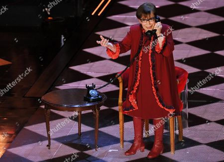 Stock Image of Italian Actress Franca Valeri Performs a Sketch on Stage During the Second Night of of the Sanremo Italian Song Festival at the Ariston Theatre in Sanremo Italy 19 February 2014 Italy Sanremo