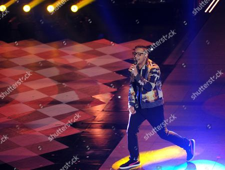 Italian Singer Rocco Hunt Performs on Stage During the Fourth Night of of the Sanremo Italian Song Festival at the Ariston Theatre in Sanremo Italy 21 February 2014 Italy Sanremo