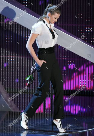 Czech Model Ivana Mrazova Arrives on Stage of the Ariston Theatre During the Fourth Day of the Sanremo Festival in Sanremo Italy 17 February 2012 Italy Sanremo