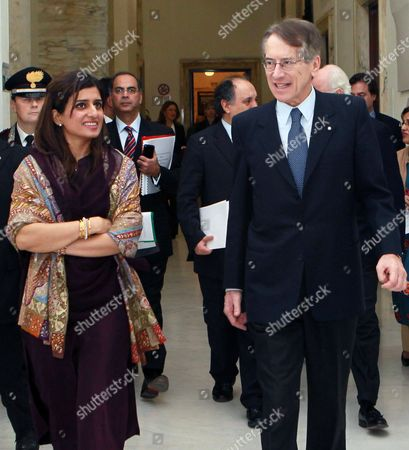 Pakistani Foreign Minister Hina Rabbani Khar (l) and Italian Foreign Minister Giulio Terzi (r) Are Seen on the Occasion of Their Meeting in Rome Italy 01 February 2013 the Pakistani Foreign Minister is on an Official Visit to Italy Italy Rome