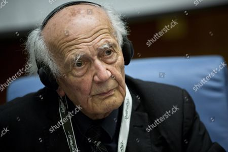 Polish Philosopher Zygmunt Bauman Stands at Italian Parliament During the Ceremony of Opening of the Convention on Addiction in Rome 22 October 2013 the Meeting Run From Today to 25 October 2013 Italy Rome