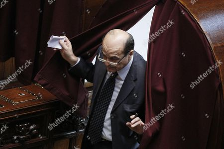 Leader of Democratic Party Pier Luigi Bersani Votes During the Sixth Secret Ballot For the Italian Republic President Election with Deputies and Senators in a Common Session in the Chamber of Deputies Rome Italy 20 April 2013 Italy Rome