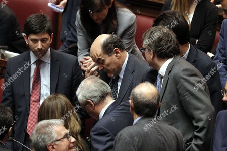 Former Leader of Democratic Party Pier Luigi Bersani Reacts After Giorgio Napolitano was Re-elected As Italian President at the Chamber of Deputies Rome Italy 20 April 2013 Italy's Octogenarian President Giorgio Napolitano was Re-elected 20 April 2013 For a Second Term After He Heeded Requests From Political Leaders who Had This Week Repeatedly Failed to Reach Agreement on Electing a New Head of State Napolitano's Re-election Came in the Sixth Round of Voting in Parliament out of 1 007 National and Regional Lawmakers Only the Protest Five Star Movement (m5s) the Leftists Left Freedom and Ecology Party and the Right-wing Brothers of Italy Refused to Endorse Him Italy Rome