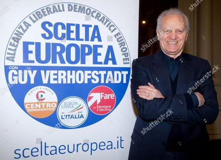 Santo Versace President and Co-chief Executive Officer of Gianni Versace Spa Poses For Photographers During the Presentation of the List and the Symbol of the Alliance of Liberals and Democrats For Europe (alde) in Rome Italy 05 April 2014 the Alde Party Consists of 57 Member Parties From Across Europe Italy Rome