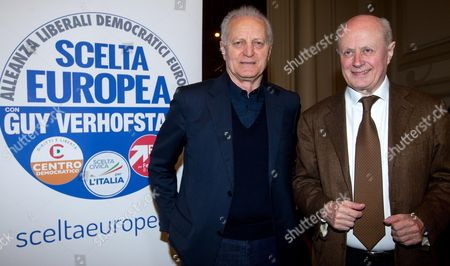 Santo Versace President and Co-chief Executive Officer of Gianni Versace Spa and Bruno Tabacci (r) Member of the Italian Chamber of Deputies Pose For Photographers During the Presentation of the List and the Symbol of the Alliance of Liberals and Democrats For Europe (alde) in Rome Italy 05 April 2014 the Alde Party Consists of 57 Member Parties From Across Europe Italy Rome