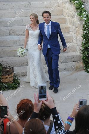 Charlie Gilkes (r) and Anneke Von Trotha Taylor (l) Pose For Photographs After Their Wedding Ceremony in Monopoli Italy 19 September 2014 British Pince Harry and Pippa Middleton Sister of Britain's Catherine Duchess of Cambridge Were Among the Guests who Attend the Marraige Italy Monopoli